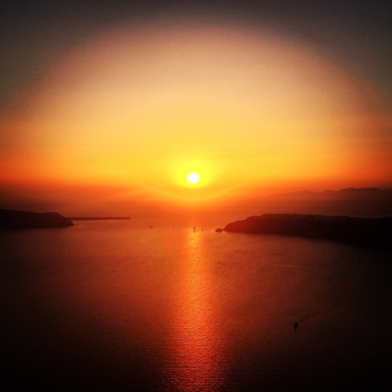 The only other color, seen every evening in Santorini