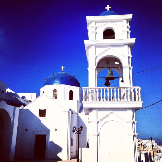 One of the many, many churches on the island; on the path from Imerovigli to Fira